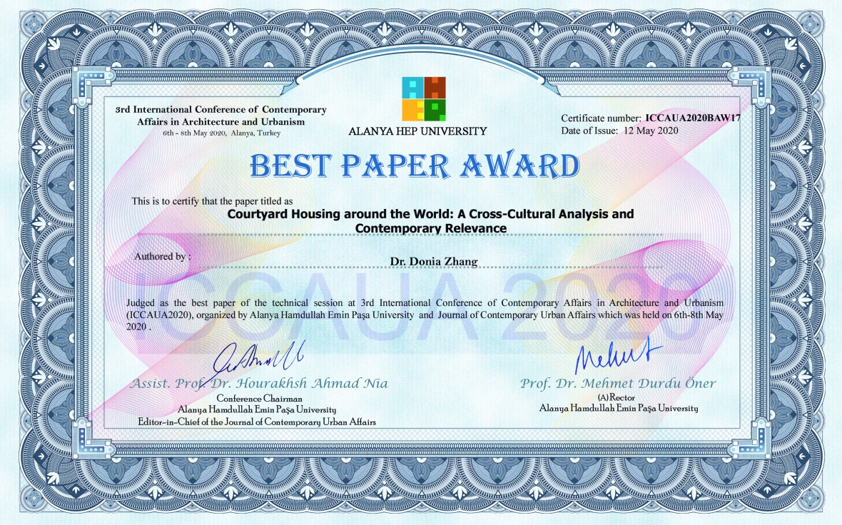 ICCAUA2020BAW17_Dr_Donia_Zhang_Best_Paper_Award_Certificate